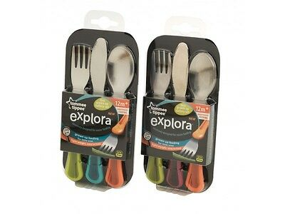 Explora 1st Grown Up Cutlery Set 3 Pack - 2 Colours