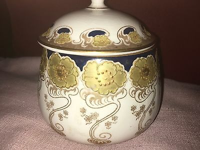 Art Nouveau Bishop & Stonier Porcelain Jar & Cover,Sinuous Flora Gold,Blue,White