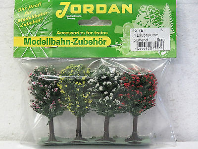 "JORDAN scenery ""4 pack"" FLOWERING TREES 6cm N scale #7E New in pack"