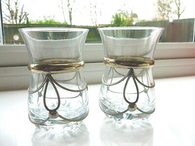 Pair of Art Nouveau Style Glass Bud Vases with Metal Decoration