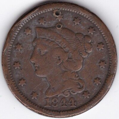 1844 U.S.A. Braided Hair One Cent***Collectors***Part Drilled***