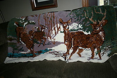 "Vintage Hand Hooked Rug Large Latch Hook Deer Pattern Winter Scene 68"" x 36"""