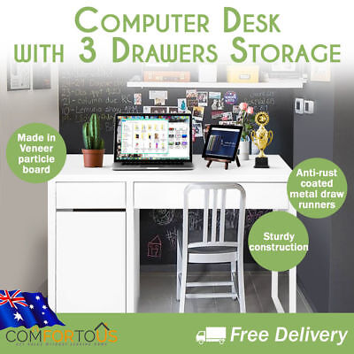 Computer Study Table Desk Office Workstation Cabinet with 3 Drawer Storage White