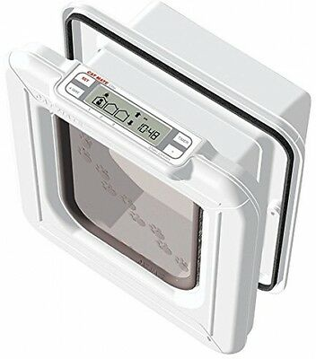 Cat Mate Elite Microchip Cat Flap with Timer Control White Location Time New