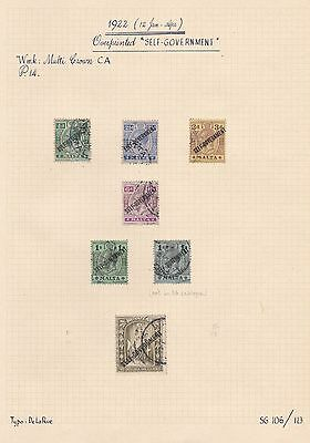 1922 MALTA SHORT SET SELF-GOVERNMENT < 2s6d + 1s COLOR VARIETY SG106/112 CV£200+