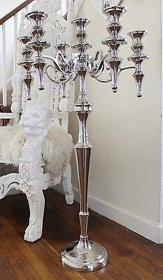 Silver X Large Ornate French Candelabra 7 Candle Holder Wedding Floor Standing