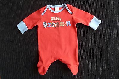 Baby clothes BOY premature/tiny<7.5lb/3.4k NEXT red/blue babygrow little brother
