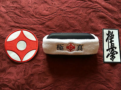 Kyokushin Karate  towel headband sweatband  embroidered with  Kanku & Kanji logo