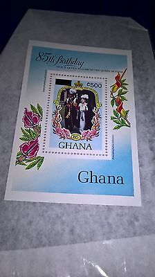 MNH Ghana 85th birthday Overprinted value Queen Mother souvenir sheet