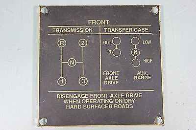 US WW2 Willys MB Ford GPW 1940's Transmission Data Plate Orig. Military Jeep J14