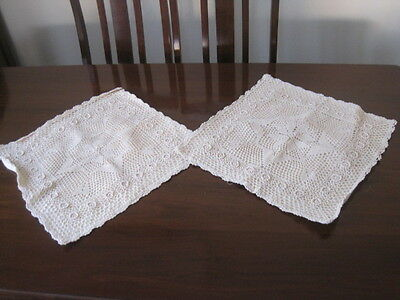 A Pair Of Deep Cream Square Filet Crochet Lace Cushion Covers