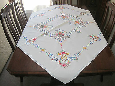 Vintage Pure Linen Tablecloth With Fine Floral Cross Stitch Embroidery