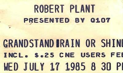 Robert Plant Ticket Stub July 17, 1985 CNE GRANDSTAND, TORONTO