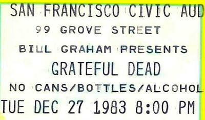Grateful Dead Ticket Stub at San Francisco Civic Auditorium  DEC. 27, 1983