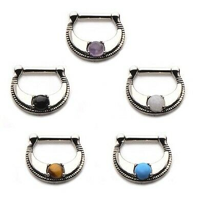 New Surgical Steel Prong Set Stone Septum Clicker Cat's Eye Turquoise Amethyst