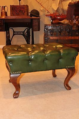 Antique Tufted Chesterfield Green Leather Foot Stool Ottoman