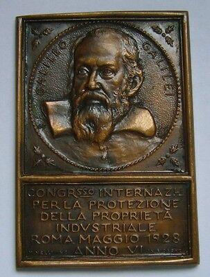 Italy, Galileo Galilei 1928 Medal / Plaque by Mario Nelli, S.P.Q.R