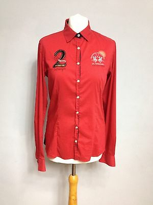 La Martina Woman's Polo Shirt Size 3 Red Authentic Horse Riding Gear Branded UK