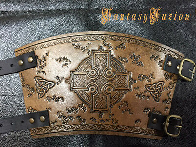 Medieval Knight Viking Armor Celtic Cross Design Leather SINGLE Cuff Bracer