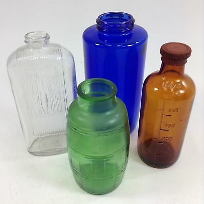 VTG  Multi Colored Glass Bottles Lot of 4 Potion Craft Assortment Decor Storage