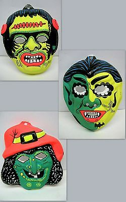 Vtg lot 3 Vacuform Plastic Halloween Costume Masks WITCH DRACULA FRANKENSTEIN