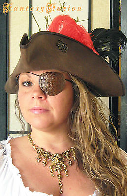 Pirate Freebooter Leather Unique Tooled Eye Patch Cosplay