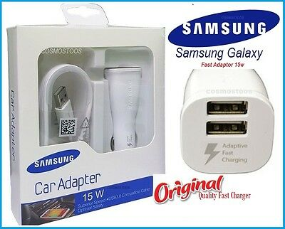 Samsung Dual Usb Fast Car Charger 15W+Charging Cable Galaxy S5 S6 Edge,S7 Edge