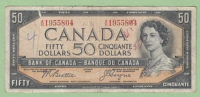 1954 Bank of Canada 50 Dollars Note- Devil's Face - Beattie/Coyne - VG