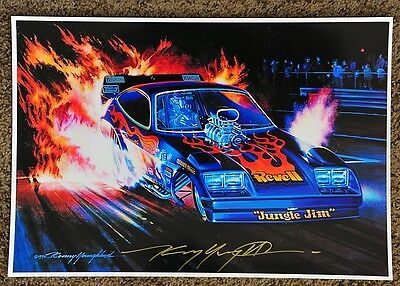 New Kenny Youngblood Signed Jungle Jim Flaming Burnout '96 Night Funny Car Print