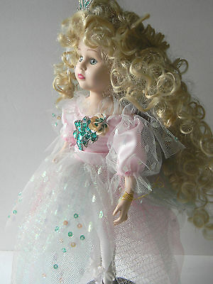 "Vintage Porcelain Fairy Doll Blonde Curly Hair Green Eyes 17"" tall"