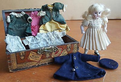 Antique All Bisque German Dollhouse Doll Mignonette With Trunk & Clothing