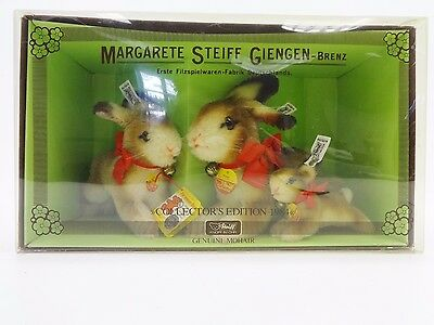 Steiff Collectors Edition 1984 Set of 3 MINT Hoppy Bunny Rabbits in Box 0135/00