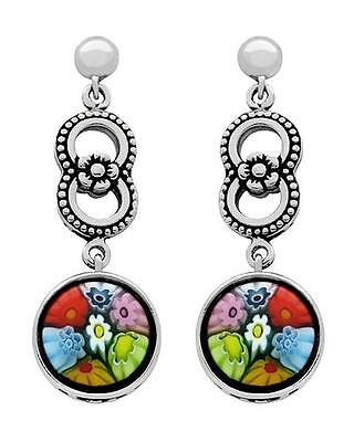 Alan K Signature Dangle Earrings Multicolor Murano Glass And 925 St/silver. New
