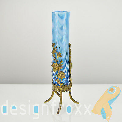 Antique French Art Nouveau Art Glass Vase with Floral Ormolu Mounting by Legras