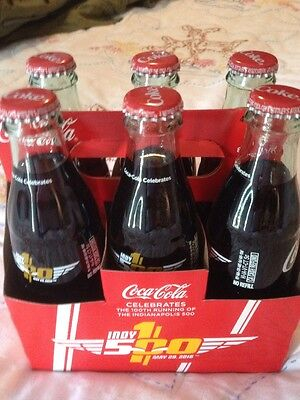100th Running Indy 500 Collectible Coca Cola 6 Pack 8oz Bottles With Holder Rare