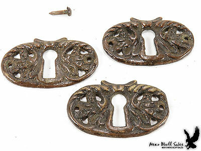 Antique 3 X Matching Escutcheon Keyhole Cover Plates Furniture Parts Door Drawer