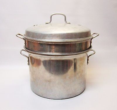 Vintage Aluminum Stock Pot with Steamer and Strainer Insert Double Vented Lid