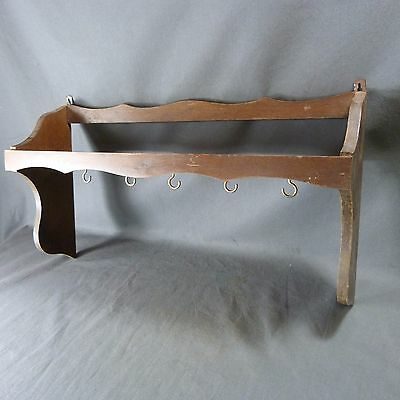 French Vintage Wooden Wall Mount for Pans Hanging Cookware Holder and Pots Racks