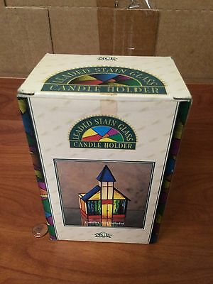 C6-99 NCE Leaded Stained Stain Glass Candle Holder! NICE IN BOX!