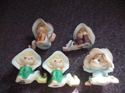 Vintage Pixie Elves/Fairies Ceramic Figurines Garden Gnomes Set Of 5 Homco #5213