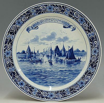 @ MINT @ Royal Porceleyne Fles blue & white delft plate 600 years Rotterdam 1928