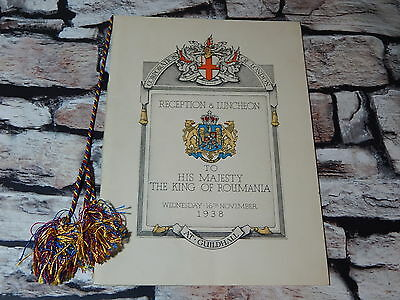 Programme for Reception & Luncheon to King of Roumania at Mayors Guildhall 1938