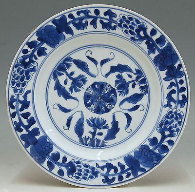 @ PERFECT @ Antique Chinese 18th C Porcelain Blue & White Export Plate Kangxi