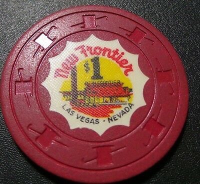 New Frontier $1 Casino Chip- Las Vegas Classic- VG Condition- Hotel Pic