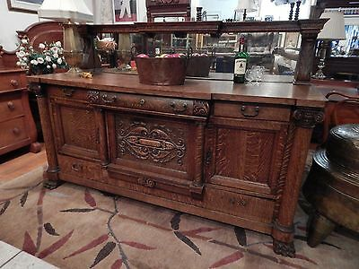 Large Antique Quartersawn Oak Server Sideboard Buffet Mirror Lion Paw