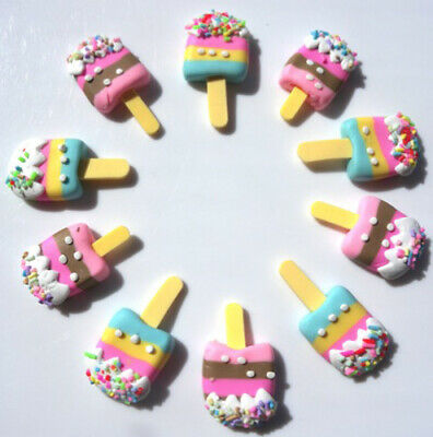 10 yummy ice-cream lolly with sprinkle clay flatbacks scrapbook jewellery craft