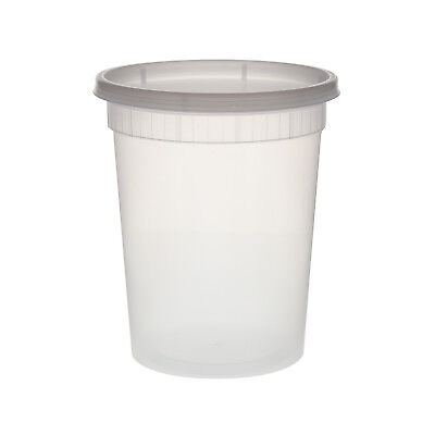 Tripak 32oz Round Reusable Clear Deli Container with Lid - Microwave, Pack of 48