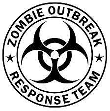 "8/"" X 8/"" Zombie Outbreak Response Team #2 Vinyl Decal Sticker Skull Black Ops"