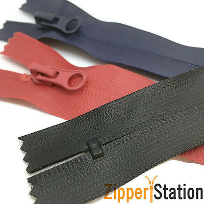 Waterproof nylon zip zipper. CLOSED END Zips. Black, Navy, Grey, Red