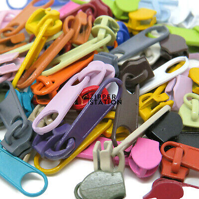 Set of No3 Zip slides, pulls, fastenings for continuous zips. 19 colours
